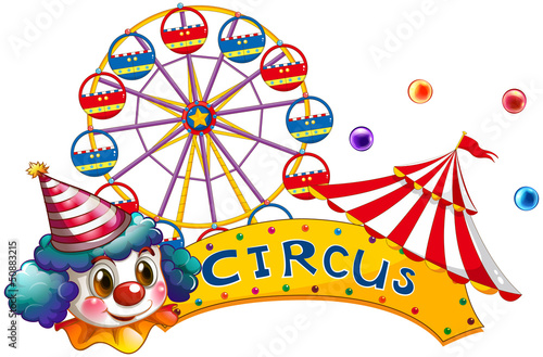 A circus signboard with a clown and a tent