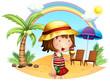 A beach with a little girl