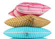Blue, brown and pink bright pillows isolated on white