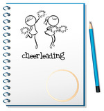 A notebook with a cheerleading design