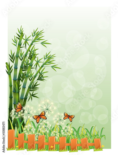 A stationery with bamboos and butterflies