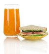Sandwich on plate with juice isolated on white
