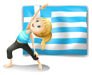 The flag of Greece and a young girl exercising