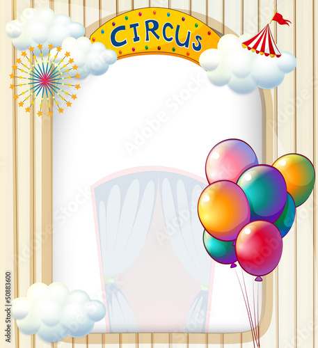 A circus entrance with balloons