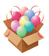 Eight colorful balloons inside a box