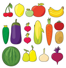 Fruits & vegetables vector set