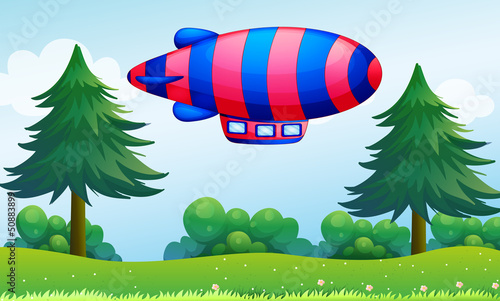 In de dag Vliegtuigen, ballon A colorful aircraft above the hills