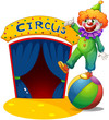 A clown at the top of a ball presenting the circus house