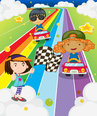 A car race at the colorful road