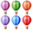 Six colorful hot air balloons