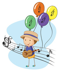 A young musician with balloons at the back