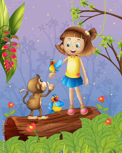 A young girl with two parrots and a monkey in the forest