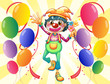 A clown with flowers and balloons