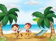 Two monkeys wearing a hawaiian attire