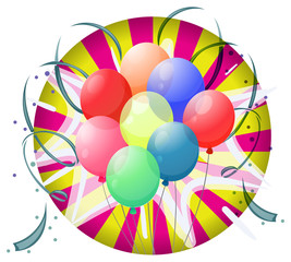 A spinning wheel with balloons