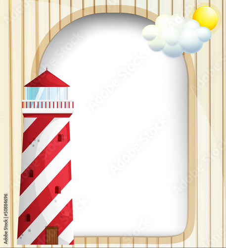 A lighthouse in front of an empty template