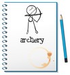 A notebook with an archery design