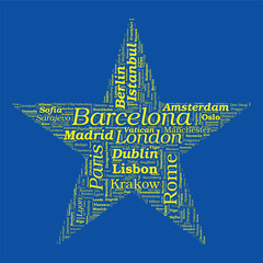 Star Shaped European Cities Vector Word Cloud on white backgroun