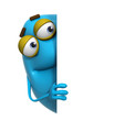 3d cartoon cute blue monster