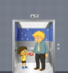 A man and a kid inside the elevator