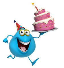 3d cartoon cute blue monster with cake