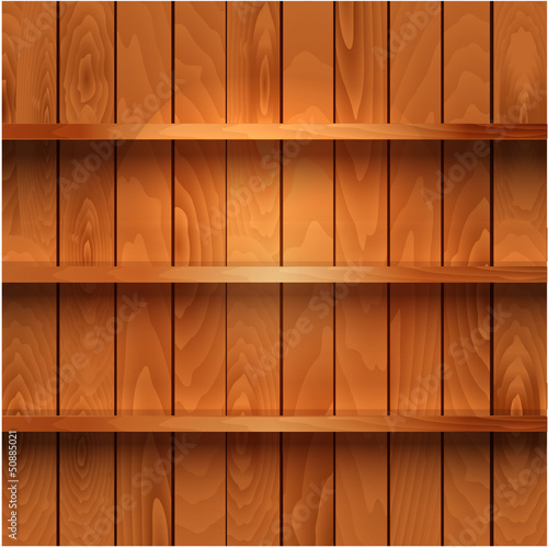 Realistic wooden shelves