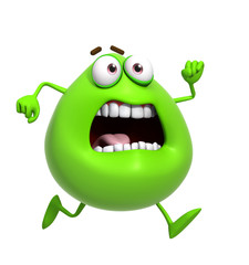3d cartoon cute green monster