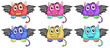 Six smiling monster heads with wings
