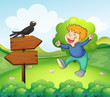 A black bird above the wooden sign near a young boy