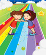 Two girls holding their hands at the colorful road