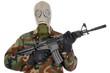 Soldat mit Gasmaske und Sturmgewehr