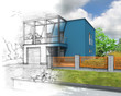 Illustration of an idea of blue modern house construction