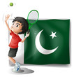 The Pakistan flag and the tennis player