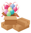 Balloons inside the box