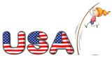 The USA letters with a girl above a stick