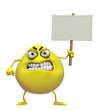 3d cartoon cute yellow monster holding placard