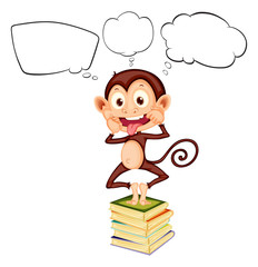 A monkey above the pile of books with empty callouts