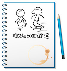 A notebook with two people skateboarding in the cover