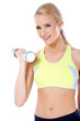 Close up of blond happy woman with dumbbell