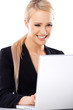 Adorable blond business woman working on laptop
