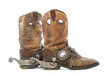 Side view of a pair of Cowboy boots with spurs - 50887291