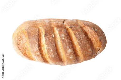 top view of french loaf bread isolated on white background