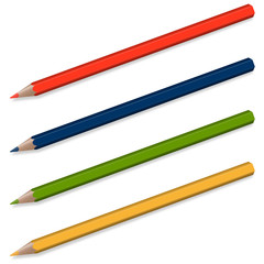 4 Buntstifte mit Schatten