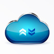 Vector blue modern 3d glass cloud icon