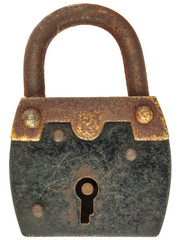 Antique brown with black metal padlock isolated on white