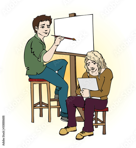 Two young artist drawing vector
