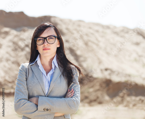 Portrait of the brunette business woman