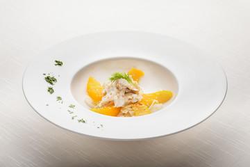 Sea Bass and orange salad with crispy fennel and sesame seeds