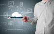Businessman showing hand drawn cloud computing
