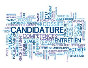 Nuage de Tags CANDIDATURE (candidat emploi postuler travail cv)